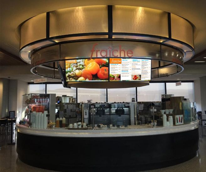 Retail AV incorporating multiple large format displays. Digital Signage can replace POS to attract and engage customers.