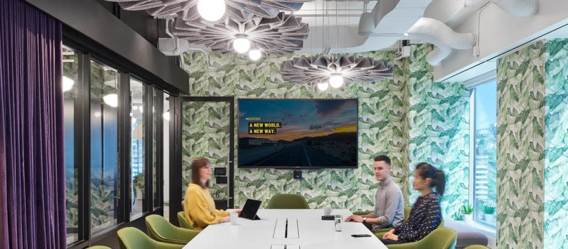 Conference room with acoustic treatment-lighting-curtains1
